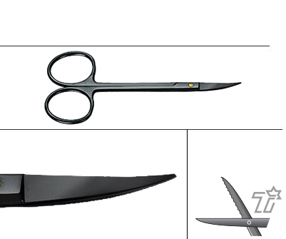 "SCISSORS, SURGICAL TISSUE, DENTAL GUM SCISSORS, CURVED ON FLAT, 4-1/2"", SUPERCUT, ONYX-COATING"