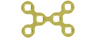 6-LOCH X- PLATTE 0,6MM KLEIN GOLD